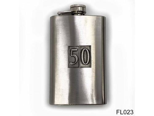 (FL023) Óncímkés flaska laposüveg - 50-es számozású  - Szülinapi Ajándék