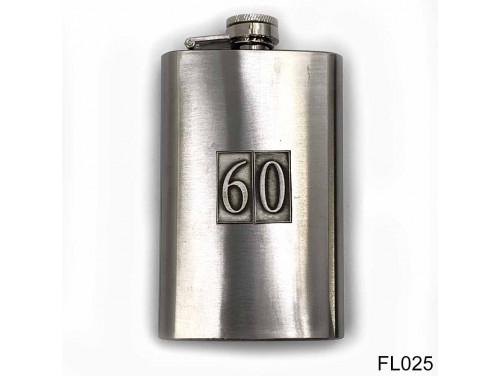(FL025) Óncímkés flaska laposüveg - 60-as számozású  - Szülinapi Ajándék