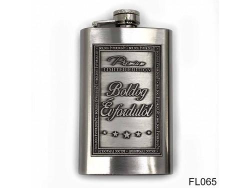 (FL065) Óncímkés flaska laposüveg - Boldog Évfordulót  - Évfordulós Ajándék