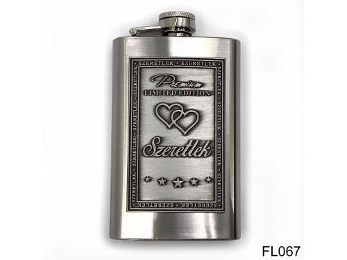 (FL067) Óncímkés flaska laposüveg - Szeretlek  - Szerelmes Ajándék