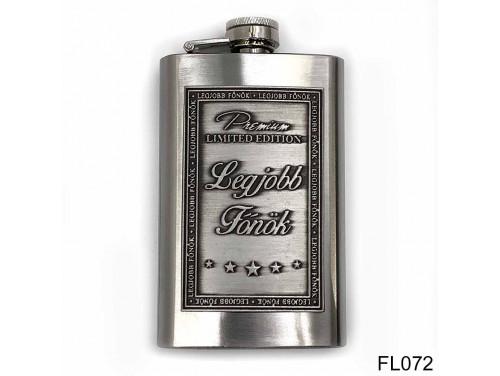 (FL072) Óncímkés flaska laposüveg - Legjobb Főnök  - Ajándék Főnöknek