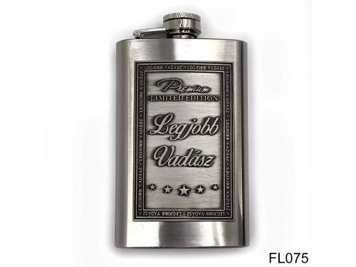 (FL075) Óncímkés flaska laposüveg - Legjobb Vadász  - Vadász Ajándék