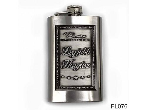 (FL076) Óncímkés flaska laposüveg - Legjobb Horgász  - Horgász Ajándék
