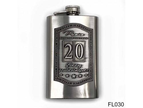 (FL030) Óncímkés flaska laposüveg -20. Boldog Születésnapot - Keretes - Szülinapi Ajándék