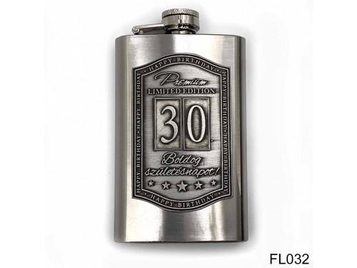 (FL032) Óncímkés flaska laposüveg -30. Boldog Születésnapot - Keretes - Szülinapi Ajándék