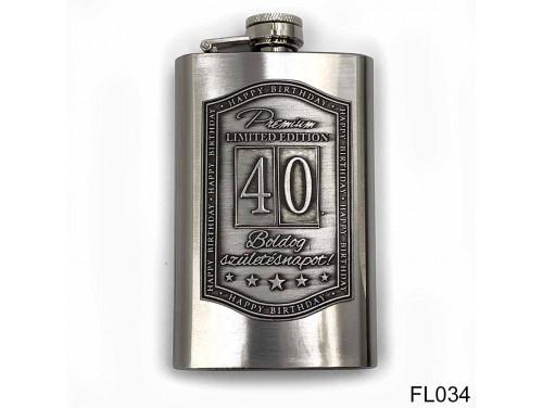 (FL034) Óncímkés flaska laposüveg - 40. Boldog Születésnapot - Keretes - Szülinapi Ajándék
