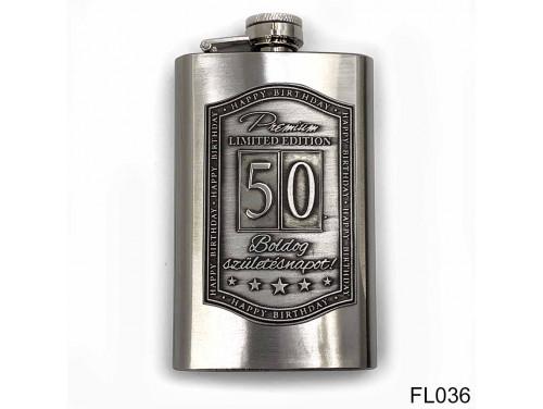 (FL036) Óncímkés flaska laposüveg - 50. Boldog Születésnapot - Keretes - Szülinapi Ajándék