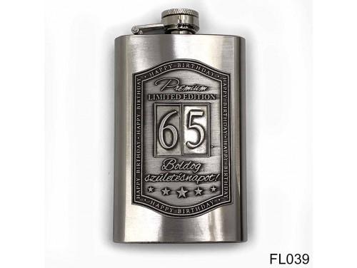 (FL039) Óncímkés flaska laposüveg - 65. Boldog Születésnapot - Keretes - Szülinapi Ajándék