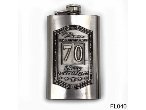 (FL040) Óncímkés flaska laposüveg - 70. Boldog Születésnapot - Keretes - Szülinapi Ajándék