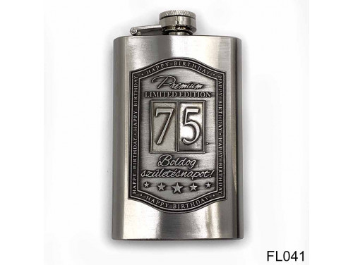 (FL041) Óncímkés flaska laposüveg - 75. Boldog Születésnapot - Keretes - Szülinapi Ajándék
