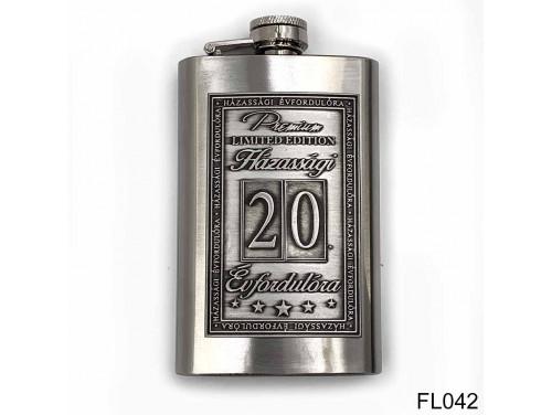(FL042) Óncímkés flaska laposüveg - 20. Házassági Évfordulóra - Keretes - Évfordulós Ajándék