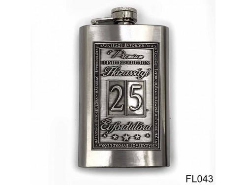 (FL043) Óncímkés flaska laposüveg - 25. Házassági Évfordulóra - Keretes - Évfordulós Ajándék