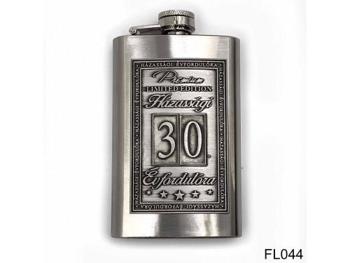 (FL044) Óncímkés flaska laposüveg - 30. Házassági Évfordulóra - Keretes - Évfordulós Ajándék