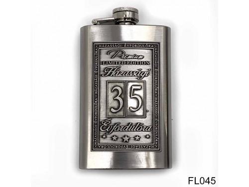 (FL045) Óncímkés flaska laposüveg - 35. Házassági Évfordulóra - Keretes - Évfordulós Ajándék