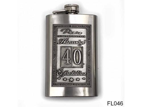 (FL046) Óncímkés flaska laposüveg - 40. Házassági Évfordulóra - Keretes - Évfordulós Ajándék