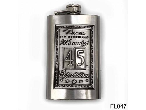 (FL047) Óncímkés flaska laposüveg - 45. Házassági Évfordulóra - Keretes - Évfordulós Ajándék