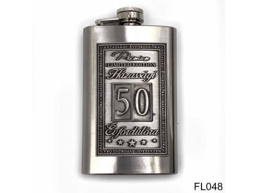 (FL048) Óncímkés flaska laposüveg - 50. Házassági Évfordulóra - Keretes - Évfordulós Ajándék