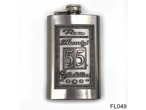 (FL049) Óncímkés flaska laposüveg - 55. Házassági Évfordulóra - Keretes - Évfordulós Ajándék