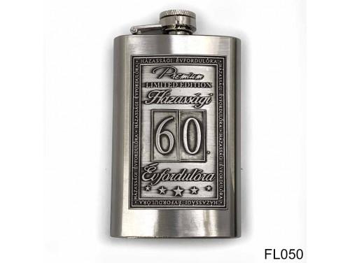 (FL050) Óncímkés flaska laposüveg - 60. Házassági Évfordulóra - Keretes - Évfordulós Ajándék