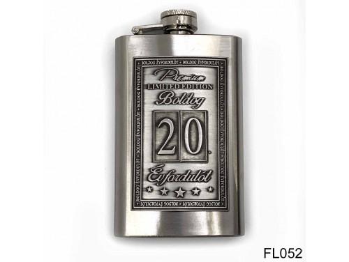 (FL052) Óncímkés flaska laposüveg - 20. Boldog Évfordulót - Keretes - Évfordulós Ajándék
