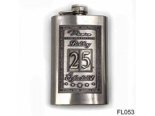 (FL053) Óncímkés flaska laposüveg - 25. Boldog Évfordulót - Keretes - Évfordulós Ajándék