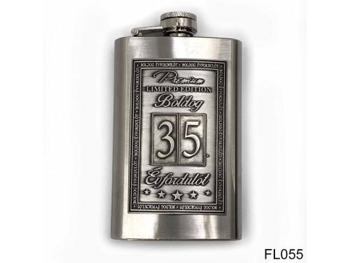 (FL055) Óncímkés flaska laposüveg - 35. Boldog Évfordulót - Keretes - Évfordulós Ajándék