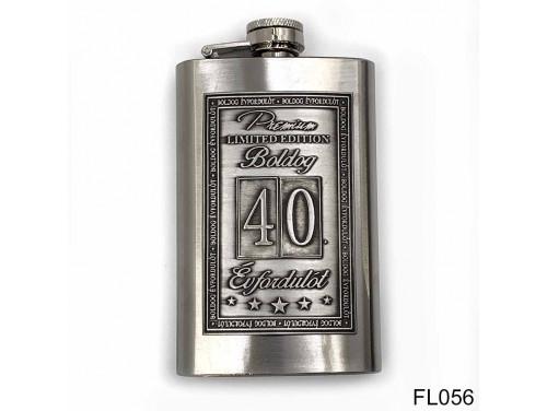 (FL056) Óncímkés flaska laposüveg - 40. Boldog Évfordulót - Keretes - Évfordulós Ajándék