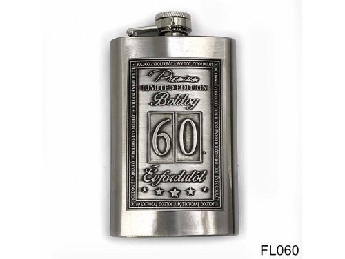 (FL060) Óncímkés flaska laposüveg - 60. Boldog Évfordulót - Keretes - Évfordulós Ajándék