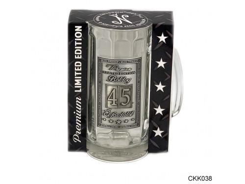 (CKK038) Fémcímkés Söröskorsó 0,33 l - Boldog Évfordulót 45. - Évfordulós ajándék