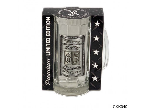(CKK040) Fémcímkés Söröskorsó 0,33 l - Boldog Évfordulót 65. - Évfordulós ajándék