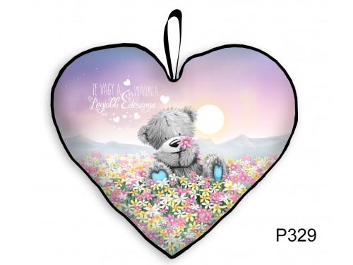 (P329) Nagy Szív Párna  45 cm x 36 cm - Maci Virágmezőn Anya – Ajándék Anyáknak - Anyák Napi Ajándékok