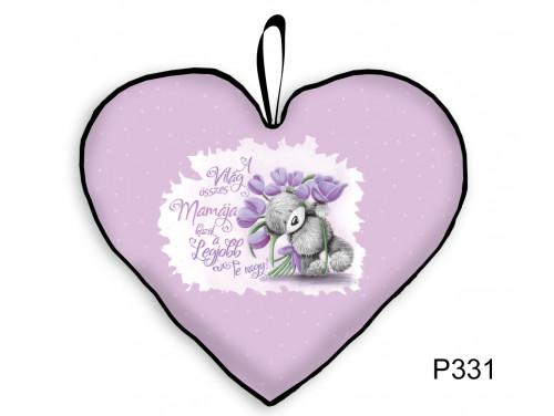 (P331) Nagy Szív Párna  45 cm x 36 cm - Lila Tulipános Mama – Ajándék Nagymamának - Anyák Napi Ajándékok