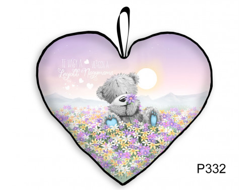 (P332) Nagy Szív Párna  45 cm x 36 cm - Maci Virágmező Mama – Ajándék Nagymamának - Anyák Napi Ajándékok