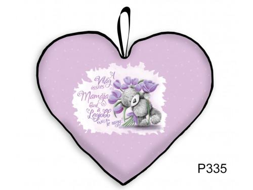 (P335) Kicsi Szív Párna  25 cm x 21 cm - Lila tulipános Mama – Ajándék Nagymamának - Anyák Napi Ajándékok