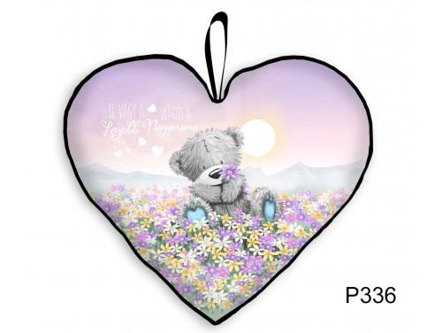(P336) Kicsi Szív Párna  25 cm x 21 cm - Macis Virágmező Mama – Ajándék Nagymamának - Anyák Napi Ajándékok