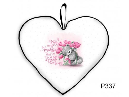 (P337) Kicsi Szív Párna  25 cm x 21 cm - Tulipános Anya – Ajándék Anyáknak - Anyák Napi Ajándékok