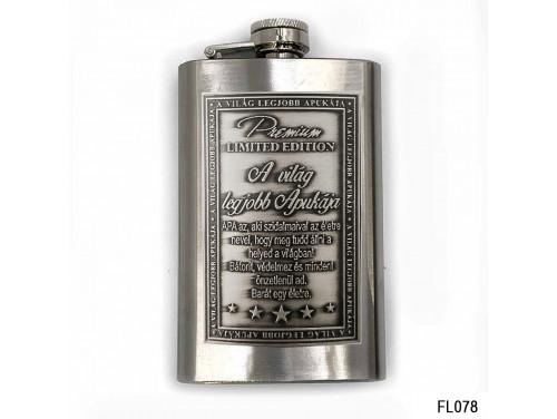 (FL078) Óncímkés flaska laposüveg - A Világ Legjobb Apukája - Ajándék Apáknak