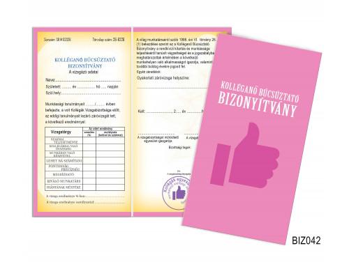 (BIZ042) Bizonyítvány - Kolléganő búcsúztató bizonyítvány - Ajándék Kolléganőnek