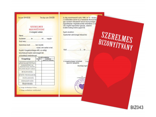 (BIZ043) Bizonyítvány - Szerelmes bizonyítvány - Szerelmes Ajándék