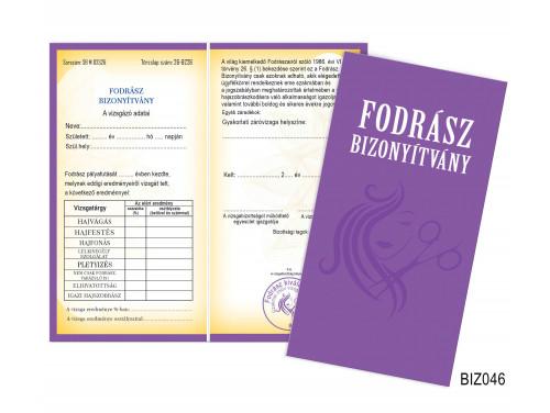 (BIZ046) Bizonyítvány - Fodrász bizonyítvány - Ajándék Fodrászoknak