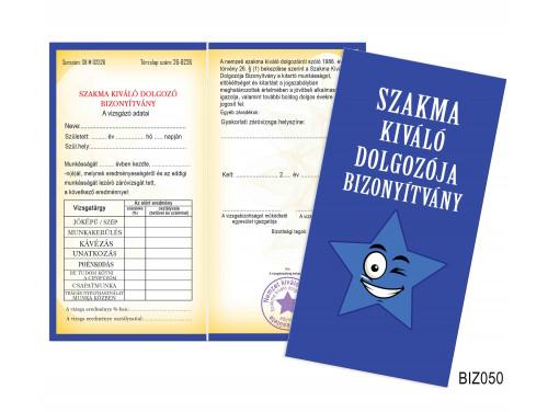 (BIZ050) Bizonyítvány - Szakma kiváló dolgozója bizonyítvány - Ajándék Kollégáknak