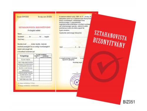 (BIZ051) Bizonyítvány - Sztahanosvista bizonyítvány - Ajándék Kollégáknak