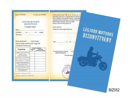 (BIZ052) Bizonyítvány - Legjobb Motoros bizonyítvány -  Motoros Ajándék
