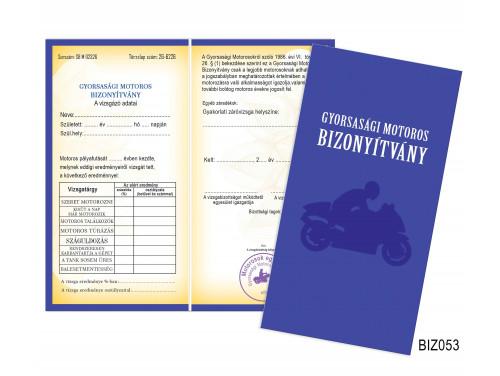 (BIZ053) Bizonyítvány - Gyorsasági Motoros bizonyítvány -  Motoros Ajándék
