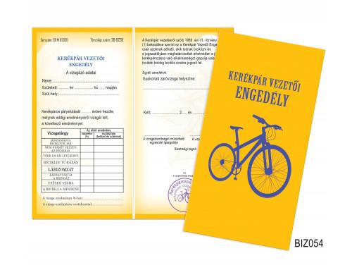 (BIZ054) Bizonyítvány - Kerékpár vezetői engedély -  Biciklis Ajándék