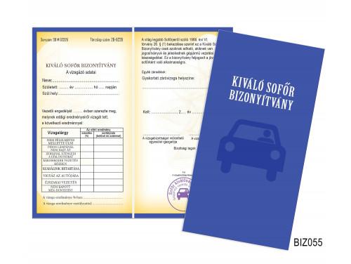 (BIZ055) Bizonyítvány - Kiváló Sofőr Bizonyítvány -  Ajándék Sofőröknek