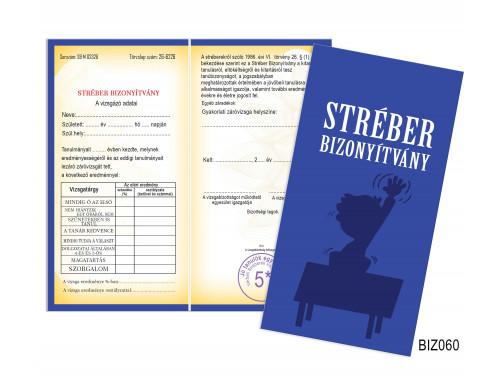 (BIZ060) Bizonyítvány - Stréber Bizonyítvány -  Ajándék Diákoknak