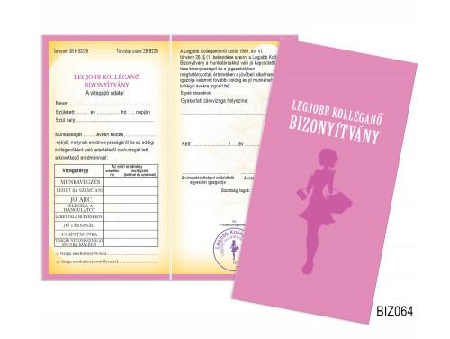 (BIZ064) Bizonyítvány - Legjobb Kolléganő Bizonyítvány - Ajándék Kolléganőnek