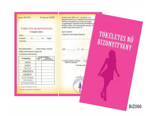 (BIZ066) Bizonyítvány - Tökéletes Nő Bizonyítvány - Ajándék Nőknek