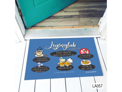 (LA057) Lábtörlő - Legénylak szabályok - Vicces Lábtörlő